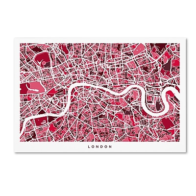 Trademark Fine Art ''London England Street Map 4'' by Michael Tompsett 22