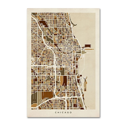 "Trademark Fine Art ''Chicago City Street Map'' by Michael Tompsett 12"" x 19"" Canvas Art (MT0670-C1219GG)"