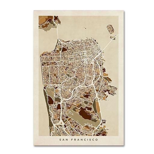 "Trademark Fine Art ''San Francisco City Street Map'' by Michael Tompsett 22"" x 32"" Canvas Art (MT0671-C2232GG)"