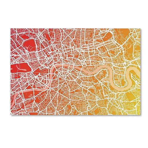 """Trademark Fine Art ''London England Street Map Art '' by Michael Tompsett 12"""" x 19"""" Canvas Art (MT0672-C1219GG)"""