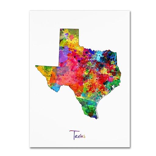 """Trademark Fine Art ''Texas Map'' by Michael Tompsett 24"""" x 32"""" Canvas Art (MT0673-C2432GG)"""