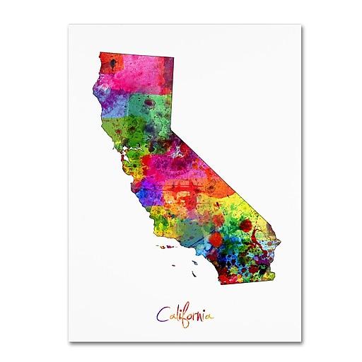 """Trademark Fine Art ''California Map'' by Michael Tompsett 18"""" x 24"""" Canvas Art (MT0674-C1824GG)"""