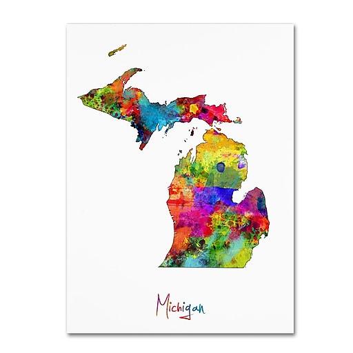 "Trademark Fine Art ''Michigan Map'' by Michael Tompsett 18"" x 24"" Canvas Art (MT0675-C1824GG)"
