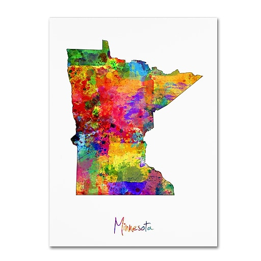 """Trademark Fine Art ''Minnesota Map'' by Michael Tompsett 35"""" x 47"""" Canvas Art (MT0676-C3547GG)"""