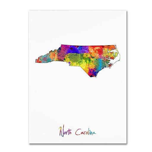 "Trademark Fine Art ''North Carolina Map'' by Michael Tompsett 18"" x 24"" Canvas Art (MT0679-C1824GG)"