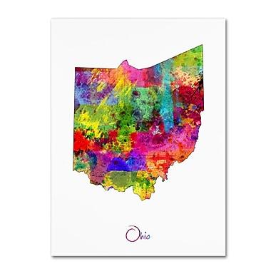 Trademark Fine Art ''Ohio Map'' by Michael Tompsett 24