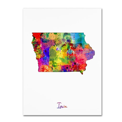 "Trademark Fine Art ''Iowa Map'' by Michael Tompsett 35"" x 47"" Canvas Art (MT0684-C3547GG)"