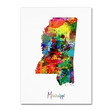 Trademark Fine Art ''Mississippi Map'' by Michael Tompsett 24