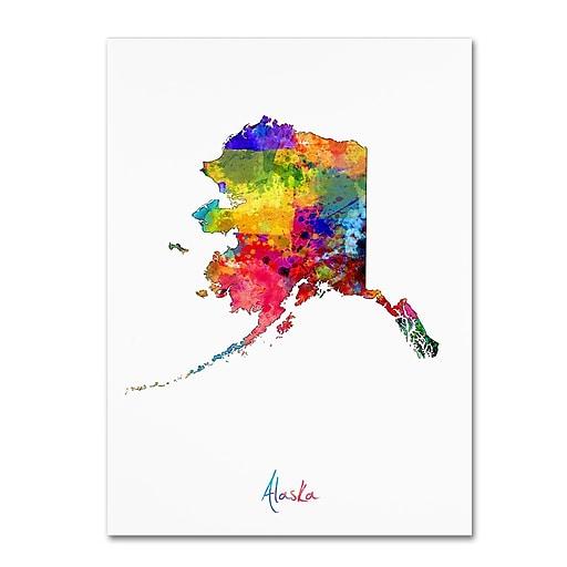 """Trademark Fine Art ''Alaska Map'' by Michael Tompsett 35"""" x 47"""" Canvas Art (MT0686-C3547GG)"""