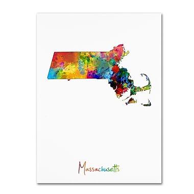 Trademark Fine Art ''Massachusetts Map'' by Michael Tompsett 18