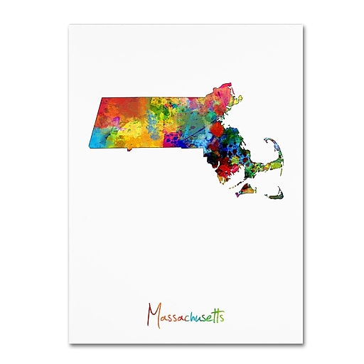 "Trademark Fine Art ''Massachusetts Map'' by Michael Tompsett 18"" x 24"" Canvas Art (MT0694-C1824GG)"
