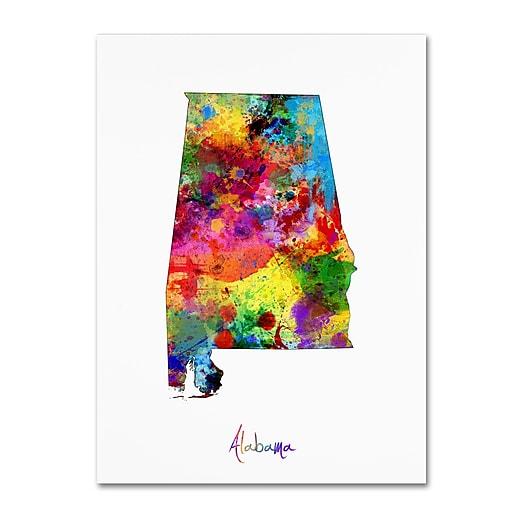 """Trademark Fine Art ''Alabama Map'' by Michael Tompsett 24"""" x 32"""" Canvas Art (MT0699-C2432GG)"""