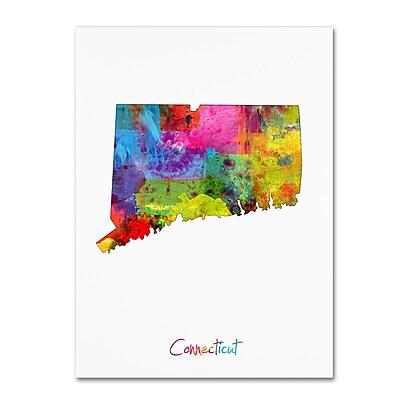 Trademark Fine Art ''Connecticut Map'' by Michael Tompsett 24