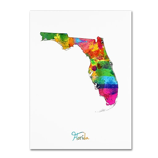 """Trademark Fine Art ''Florida Map'' by Michael Tompsett 18"""" x 24"""" Canvas Art (MT0702-C1824GG)"""