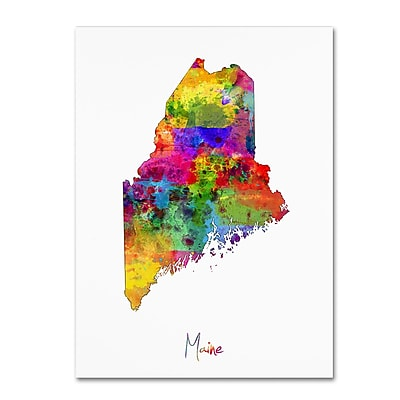 Trademark Fine Art ''Maine Map'' by Michael Tompsett 35