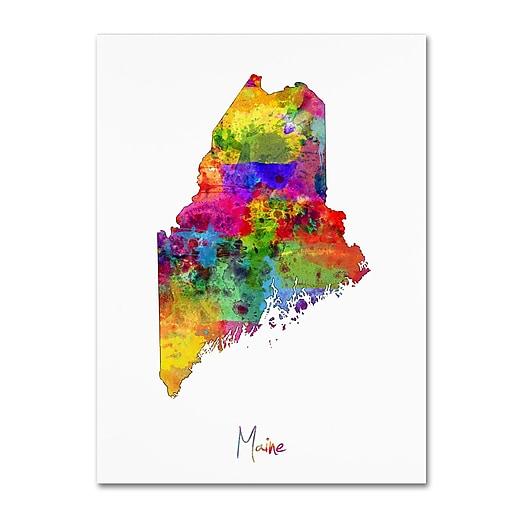 """Trademark Fine Art ''Maine Map'' by Michael Tompsett 18"""" x 24"""" Canvas Art (MT0704-C1824GG)"""