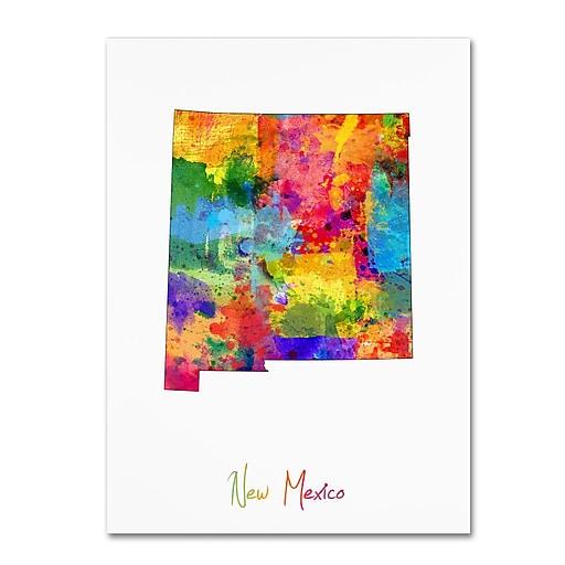 "Trademark Fine Art ''New Mexico Map'' by Michael Tompsett 35"" x 47"" Canvas Art (MT0706-C3547GG)"