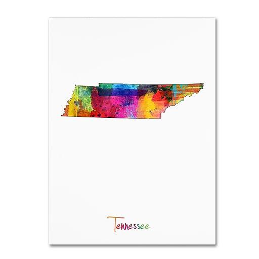 """Trademark Fine Art ''Tennessee Map'' by Michael Tompsett 18"""" x 24"""" Canvas Art (MT0707-C1824GG)"""