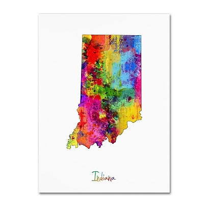 Trademark Fine Art ''Indiana Map'' by Michael Tompsett 24