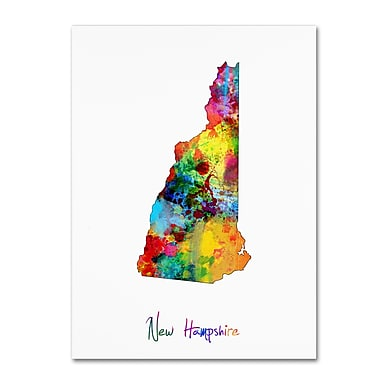 Trademark Fine Art ''New Hampshire Map'' by Michael Tompsett 35