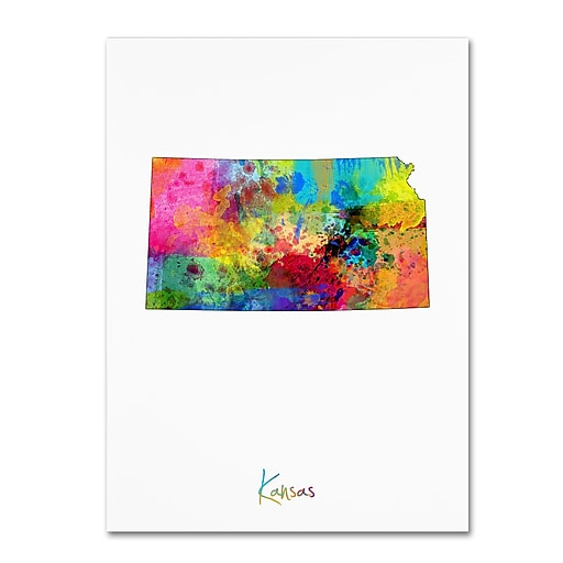 "Trademark Fine Art ''Kansas Map'' by Michael Tompsett 24"" x 32"" Canvas Art (MT0712-C2432GG)"