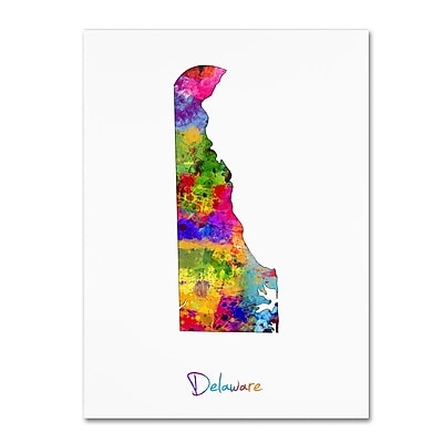 Trademark Fine Art ''Delaware Map'' by Michael Tompsett 24