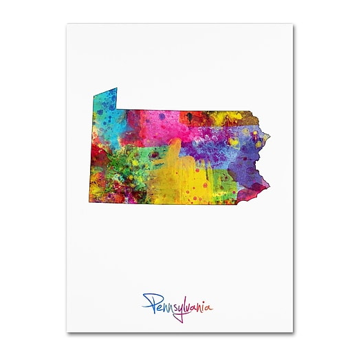 "Trademark Fine Art ''Pennsylvania Map'' by Michael Tompsett 14"" x 19"" Canvas Art (MT0715-C1419GG)"