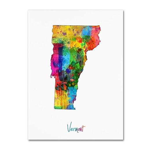 """Trademark Fine Art ''Vermont Map'' by Michael Tompsett 35"""" x 47"""" Canvas Art (MT0716-C3547GG)"""