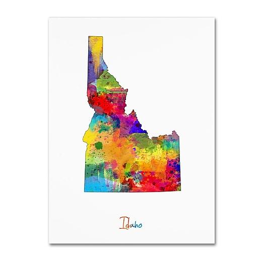 "Trademark Fine Art ''Idaho Map'' by Michael Tompsett 24"" x 32"" Canvas Art (MT0717-C2432GG)"