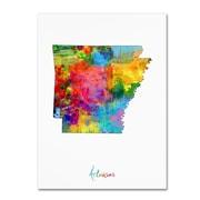 """Trademark Fine Art ''Arkansas Map'' by Michael Tompsett 14"""" x 19"""" Canvas Art (MT0718-C1419GG)"""