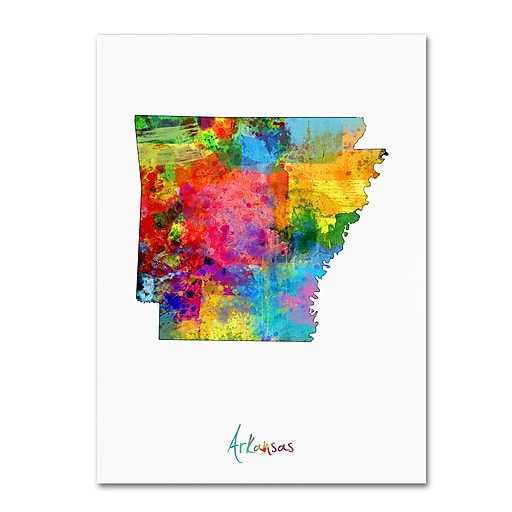 "Trademark Fine Art ''Arkansas Map'' by Michael Tompsett 14"" x 19"" Canvas Art (MT0718-C1419GG)"