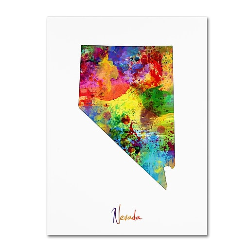"Trademark Fine Art ''Nevada Map'' by Michael Tompsett 24"" x 32"" Canvas Art (MT0719-C2432GG)"