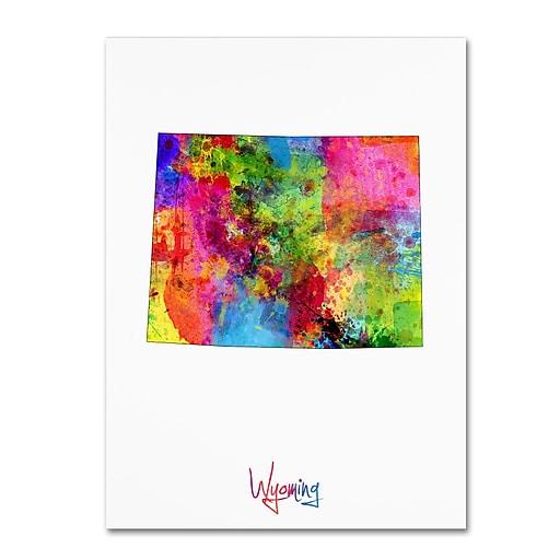 "Trademark Fine Art ''Wyoming Map'' by Michael Tompsett 24"" x 32"" Canvas Art (MT0721-C2432GG)"