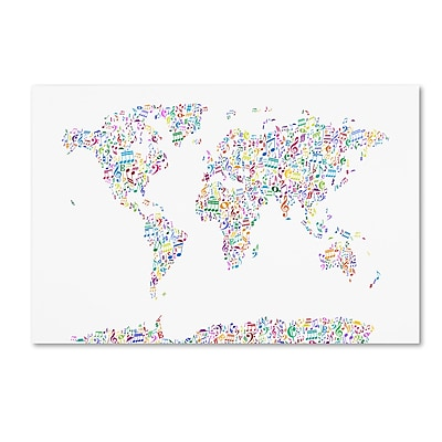 Trademark Fine Art ''Music Notes Map of the World'' by Michael Tompsett 22