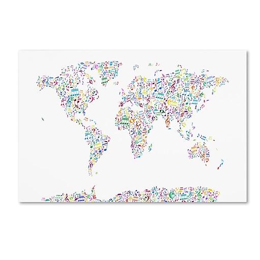 "Trademark Fine Art ''Music Notes Map of the World'' by Michael Tompsett 30"" x 47"" Canvas Art (MT0723-C3047GG)"