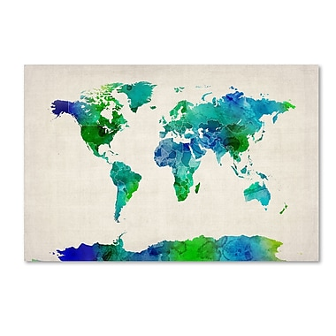 Trademark Fine Art ''Watercolor Map of the World'' by Michael Tompsett 16