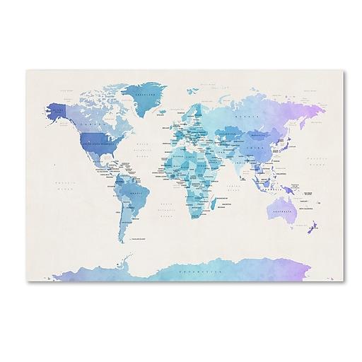 """Trademark Fine Art ''Watercolour Political Map of the World'' by Michael Tompsett 16"""" x 24"""" Canvas Art (MT0725-C1624GG)"""
