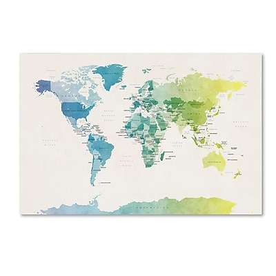 Trademark Fine Art ''Watercolour Political Map of the World 2'' by Michael Tompsett 30