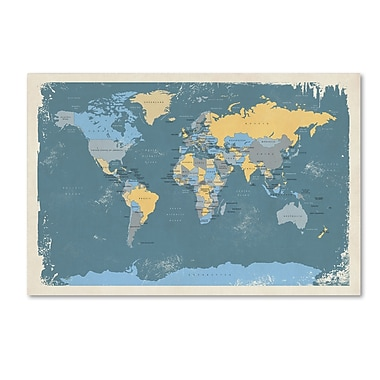 Trademark Fine Art ''Retro Political Map of the World'' by Michael Tompsett 12