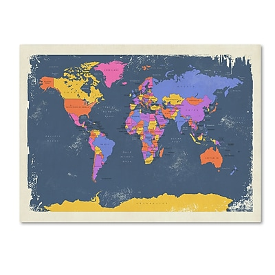 Trademark Fine Art ''Retro Political Map of the World 2'' by Michael Tompsett 30