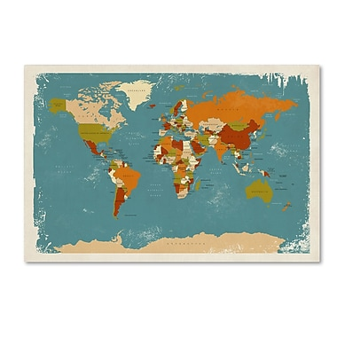 Trademark Fine Art ''Retro Political Map of the World 3'' by Michael Tompsett 12