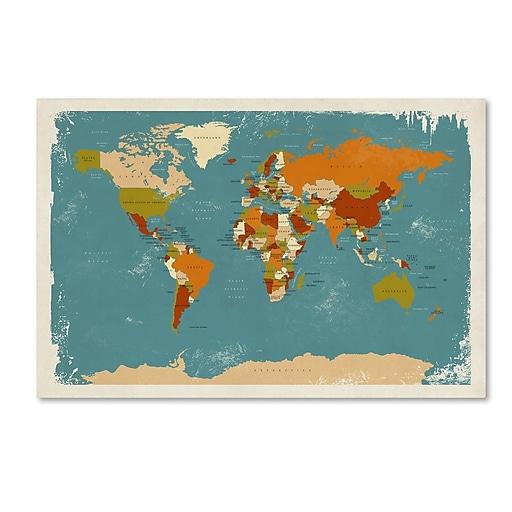 "Trademark Fine Art ''Retro Political Map of the World 3'' by Michael Tompsett 16"" x 24"" Canvas Art (MT0729-C1624GG)"