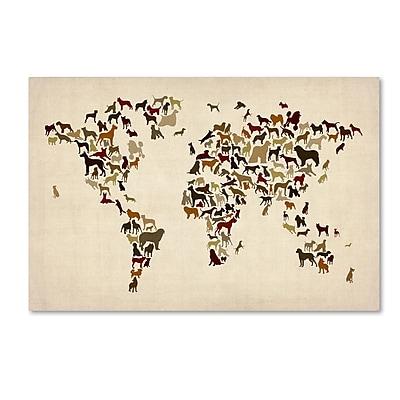 """Trademark Fine Art ''World Map of Dogs'' by Michael Tompsett 30"""" x 47"""" Canvas Art (MT0730-C3047GG)"""