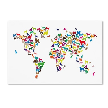 Trademark Fine Art ''World Map of Dogs 2'' by Michael Tompsett 22