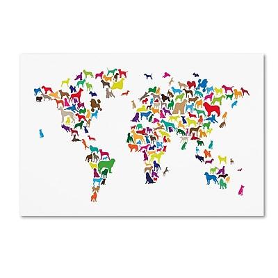 Trademark Fine Art ''World Map of Dogs 2'' by Michael Tompsett 16