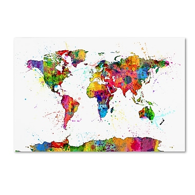Trademark Fine Art ''Map of the World Watercolor'' by Michael Tompsett 16