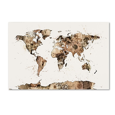 Trademark Fine Art ''Map of the World Sepia Watercolor'' by Michael Tompsett 16