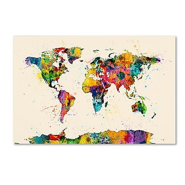 Trademark Fine Art ''Map of the World Watercolor II'' by Michael Tompsett 16