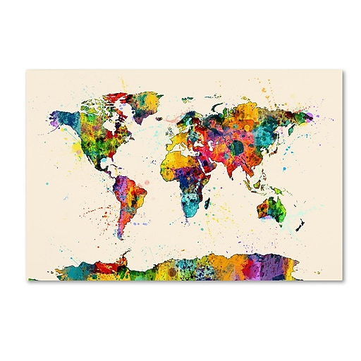 "Trademark Fine Art ''Map of the World Watercolor II'' by Michael Tompsett 16"" x 24"" Canvas Art (MT0734-C1624GG)"