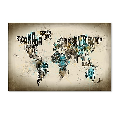 Trademark Fine Art ''Map of the World Watercolor III'' by Michael Tompsett 22